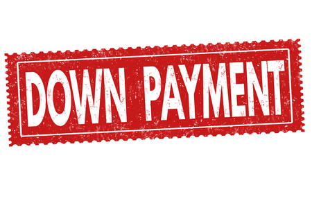 down under: Down payment sign or stamp on white background, vector illustration