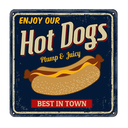 american vintage: Hot dogs vintage rusty metal sign on a white background, vector illustration Illustration