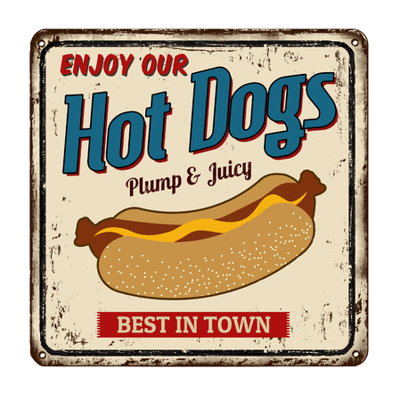 Hot dogs vintage rusty metal sign on a white background, vector illustration Illustration