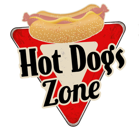 Hot dogs zone vintage rusty metal sign on a white background, vector illustration Illustration