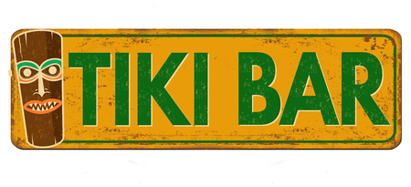 Tiki bar vintage rusty metal sign on a white background, vector illustration Çizim