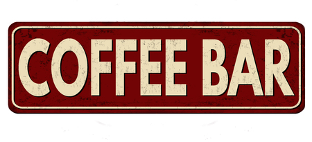 caffe: Coffee bar vintage rusty metal sign on a white background, vector illustration