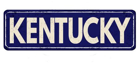 Kentucky blauwe vintage roestige metalen bord op een witte achtergrond, vectorillustratie