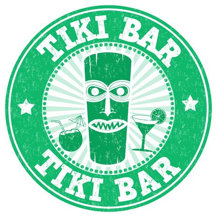 Tiki Bar grunge rubber stamp on white background, vector illustration