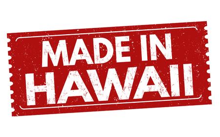 Gemaakt in het teken of de zegel van Hawaï op witte achtergrond, vectorillustratie Stock Illustratie
