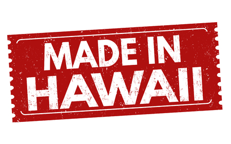 Made in Hawaii sign or stamp on white background, vector illustration Çizim