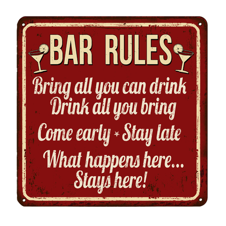 Bar rules rusty metal sign on a white background, vector illustration