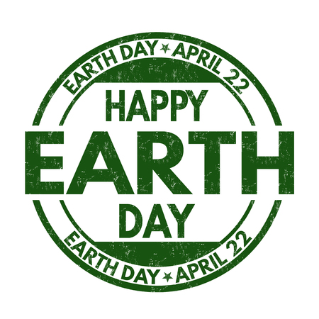 Happy Earth Day sign or stamp on white background, vector illustration
