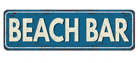 sign: Beach bar vintage rusty metal sign on a white background, vector illustration