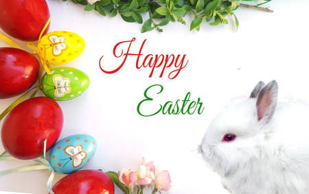 Easter composition with green tree branch, white bunny and easter eggs Stock Photo