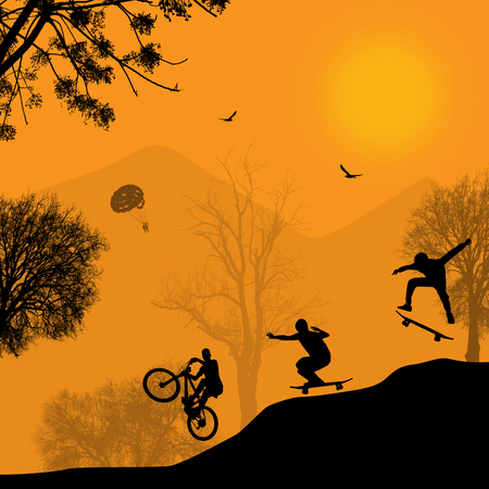 skateboard park: Vector design pattern with beautiful landscape with cyclist and skateboarder silhouettes
