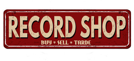 worn: Record shop vintage rusty metal sign on a white background, vector illustration