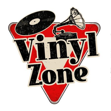 Signe de métal rouillé vintage de zone vinyle sur fond blanc, illustration vectorielle