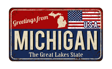 Greetings from Michigan vintage rusty metal sign on a white background, vector illustration