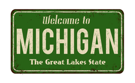 worn: Welcome to Michigan vintage rusty metal sign on a white background, vector illustration