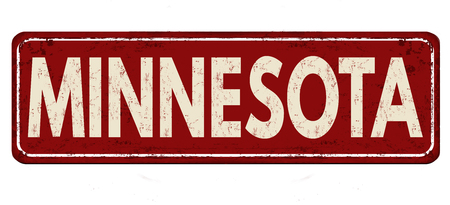 Minnesota vintage rusty metal sign on a white background, vector illustration Illustration