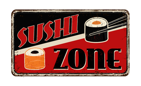 Sushi zone vintage rusty metal sign on a white background, vector illustration