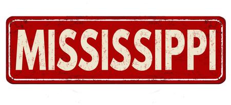 Mississippi vintage rusty metal sign on a white background, vector illustration