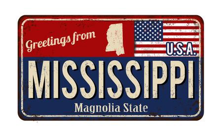 I saluti dal metallo arrugginito d'annata del Mississippi firmano su un fondo bianco, illustrazione di vettore Archivio Fotografico - 77063952
