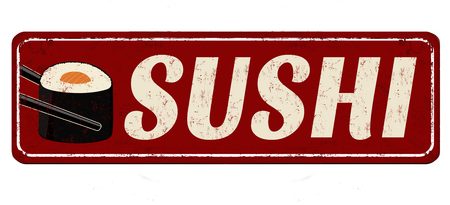 Sushi red vintage rusty metal sign on a white background, vector illustration