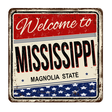 Welcome to Mississippi vintage rusty metal sign on a white background, vector illustration