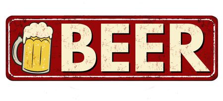 Beer red vintage rusty metal sign on a white background, vector illustration Illustration