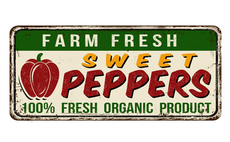 sign: Sweet peppers vintage rusty metal sign on a white background, vector illustration