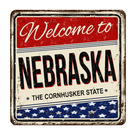metal sign: Welcome to Nebraska vintage rusty metal sign on a white background, vector illustration