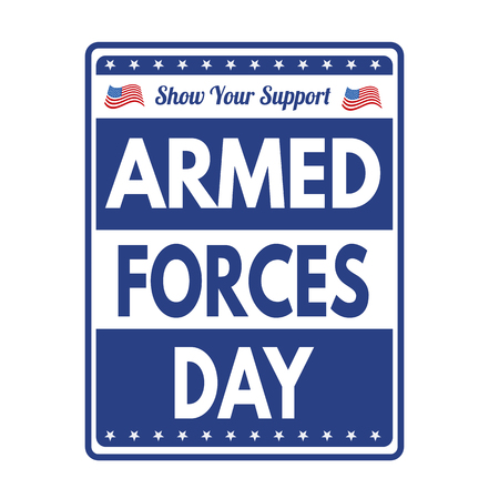 Armed Forces Day sign or stamp on white background, vector illustration