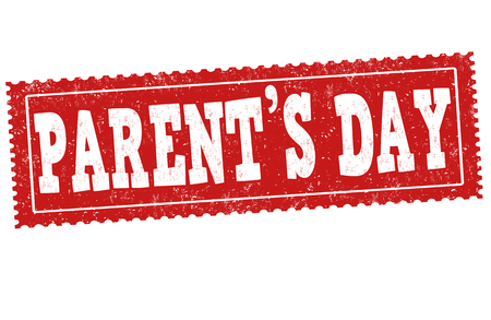Parents Day sign or stamp on white background, vector illustration