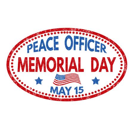 平和役人の記念日の記号または白い背景、ベクトル イラストのスタンプ  イラスト・ベクター素材