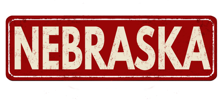 Nebraska vintage rusty metal sign on a white background, vector illustration Illustration