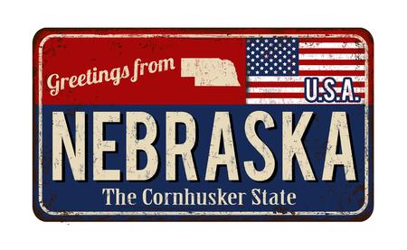 Greetings from Nebraska vintage rusty metal sign on a white background, vector illustration Illustration