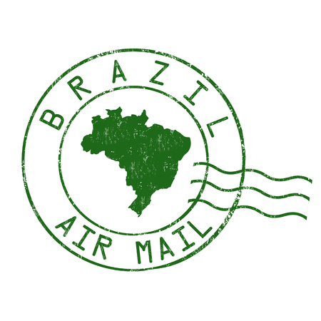 postmark: Brazil post office, air mail, grunge rubber stamp on white background, vector illustration