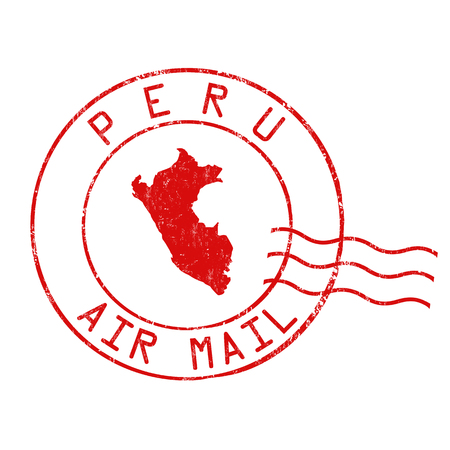 Peru post office, air mail, grunge rubber stamp on white background, vector illustration Illustration