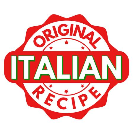 Original italian recipe sign or stamp on white background, vector illustration Illustration