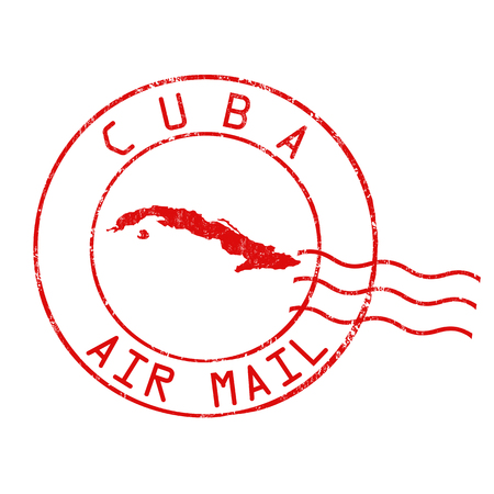 Cuba post office, air mail, grunge rubber stamp on white background, vector illustration