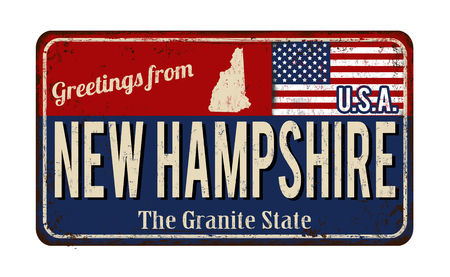 Greetings from New Hampshire vintage rusty metal sign on a white background, vector illustration