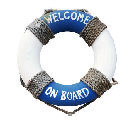 Life buoy with welcome on board on it on white background