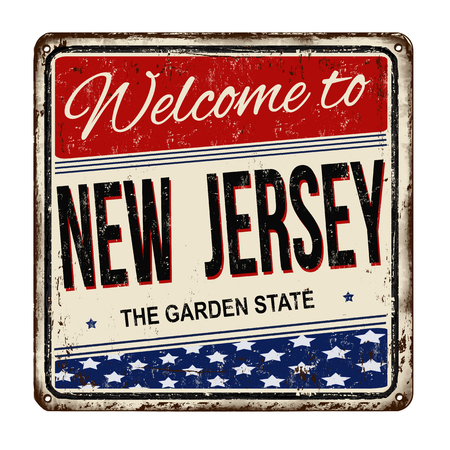Welcome to New Jersey vintage rusty metal sign on a white background, vector illustration