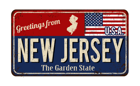 Saludos desde el signo de metal oxidado vintage de Nueva Jersey sobre un fondo blanco, ilustración vectorial