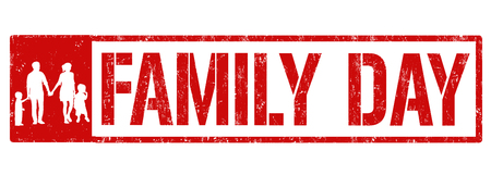 Happy family day sign or stamp on white background, vector illustration