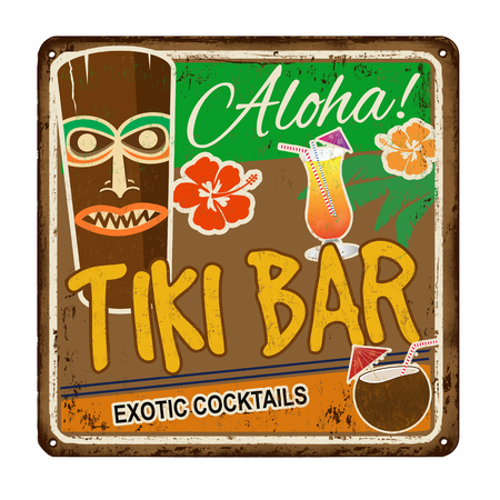 beach party: Tiki bar vintage rusty metal sign on a white background, vector illustration Illustration