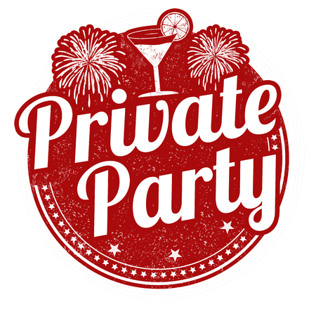 Private party sign or stamp on white background, vector illustration