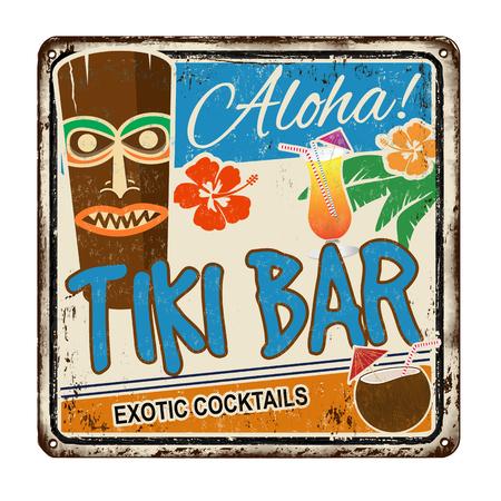 Tiki bar vintage metallo arrugginito segno su uno sfondo bianco, illustrazione vettoriale Vettoriali