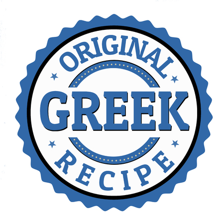 Original greek recipe label or sticker on white background, vector illustration Illustration