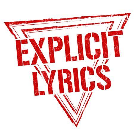 evident: Explicit lyrics sign or stamp on white background, vector illustration
