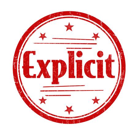 explicit: Explicit sign or stamp on white background, vector illustration