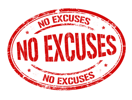 No excuses sign or stamp on white background, vector illustration 向量圖像