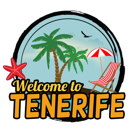 Welcome to Tenerife concept for t-shirt and other print production on white background, vector illustration Illustration